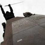 Ant Gedimino paminklo sostinėje – lenkų nacionalistinis šūkis