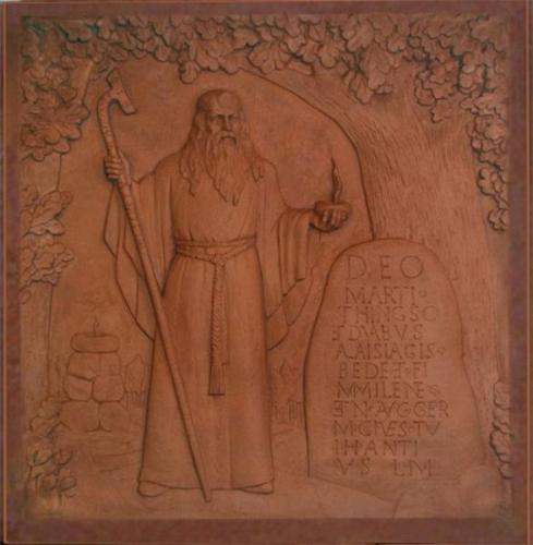 Skulptūra Tautai ir kalbai Marijampolėje. Autorius K. Balčiūnas