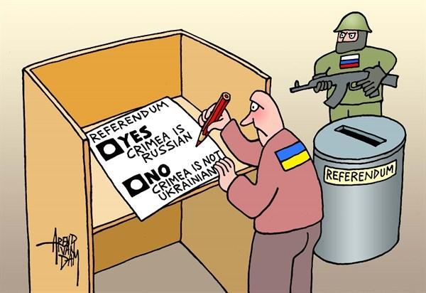 Hromadske TV / Neteisėtas referendumas dėl Krymo: pasaulio karikatūristai juokias