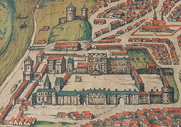 G.Brauno planas. Vilniaus pilys 1581 metais