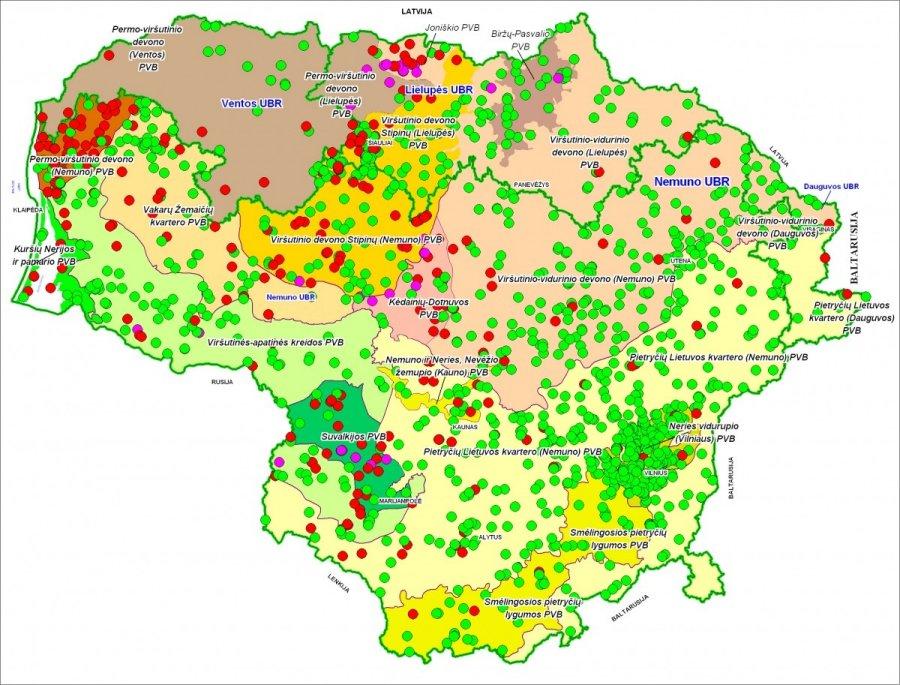 Lietuvos geologijos tarnybos žemėlapis / Požeminio vandens, naudojamo geriamojo vandens tiekimui, kokybė (SRV – specifikuota rodiklio vertė, RV – ribinė vertė)