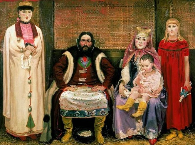 Iliustracija:patriarchalinė moskovitų šeima.