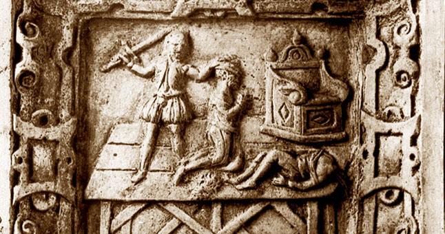 KOKLIS. Ant krosnies koklio pavaizduota mirties bausmės vykdymo scena. Datuotas maždaug 1550-1700 m., saugomas Mainco (Vokietija) muziejuje. © Nuotraukos iš BRIAI archyvo.