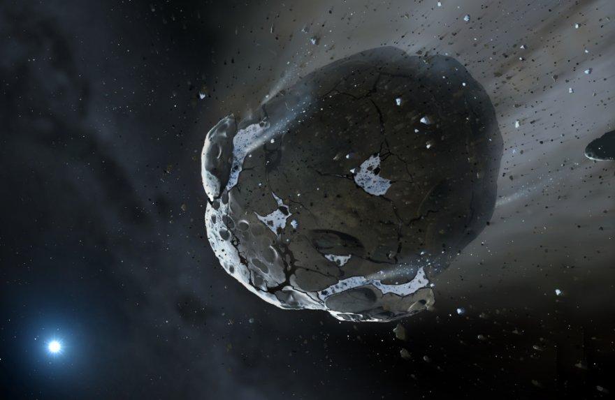 Marko Garlicko (Space-art.co.uk) / Kembridžo universiteto iliustr. / Aplink baltąją nykštukę skriejantis vandeningas asteroidas (asociatyvi nuotr.)