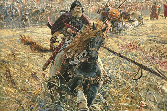 """Kulikovo mūšis – vienas iš rusų nacionalinės mitologijos pamatinių stulpų. Šiuolaikinio rusų dailininko Pavlo Ryženko paveikslas """"Peresveto pergalė""""."""