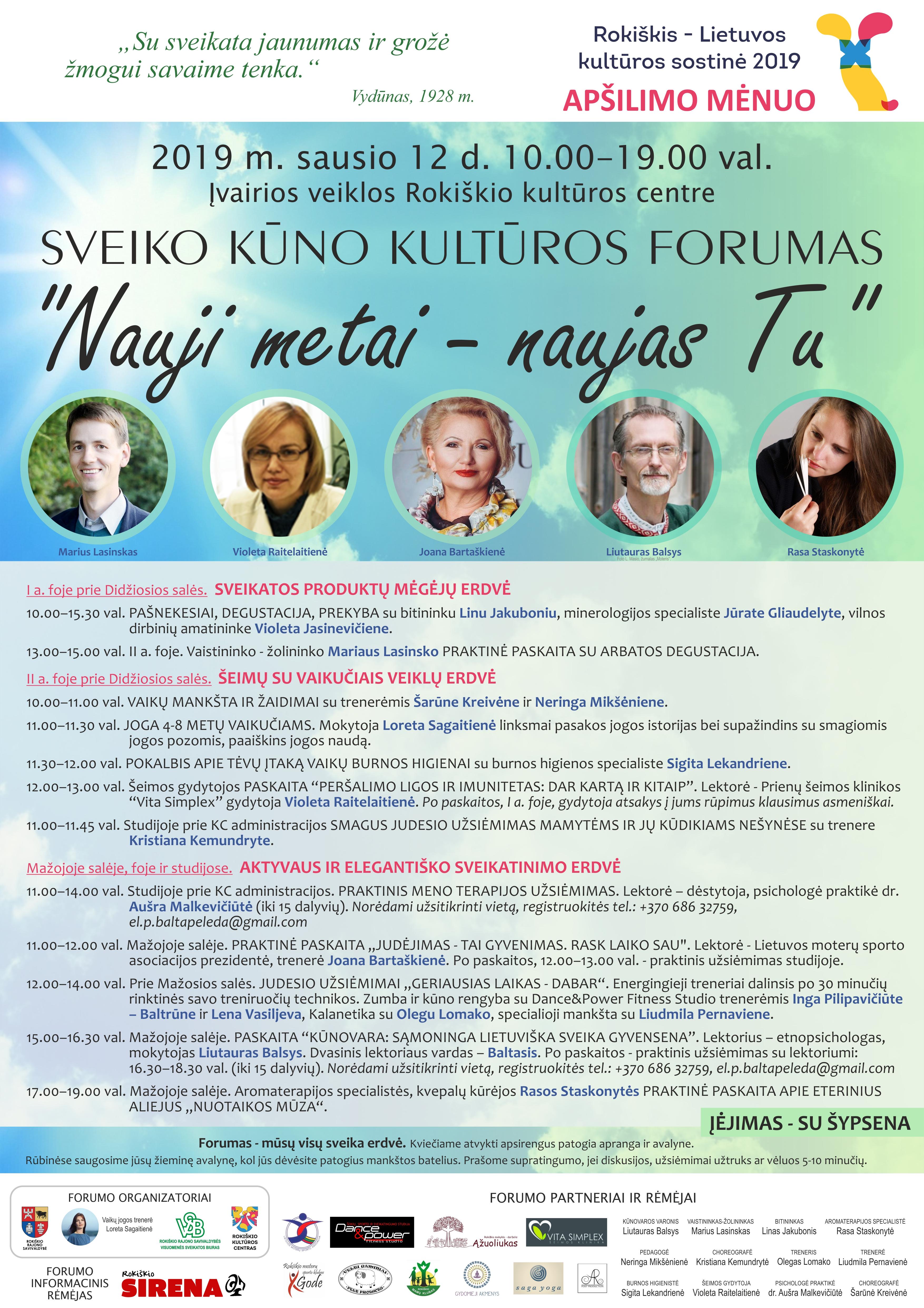 """Sveiko kūno kultūros forumas """"Nauji metai – naujas Tu"""""""